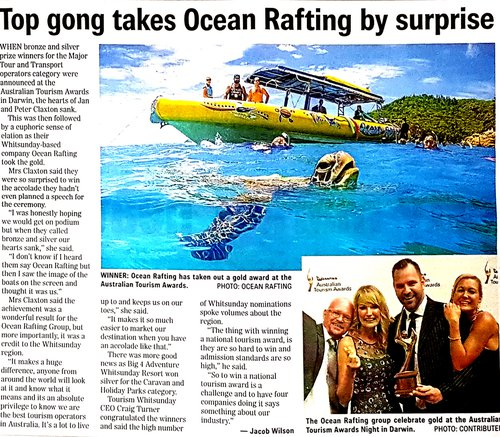 Whitsunday Tourism Operator Wins Gold For Ocean Rafting